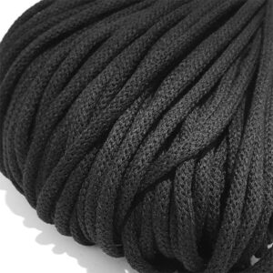 Şnur plin din bumbac premium 5 mm - Negru